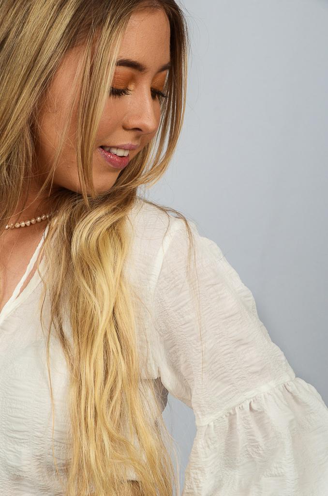 SS21 Ruffle Dress White Seersucker close up Top side