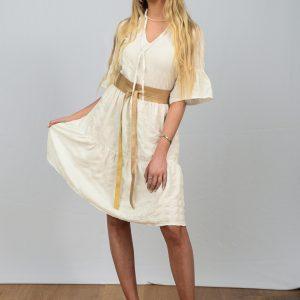 SS21 Ruffle Dress White Seersucker & gold belt full