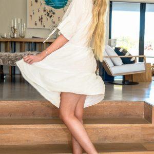 SS21 Ruffle Dress White twirling