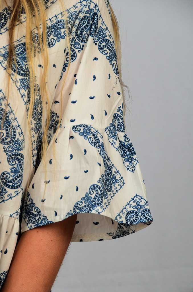 SS21 Ruffle White & Blue close up of fabric