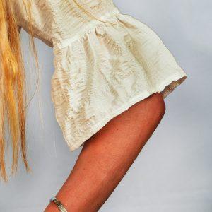 SS21 Ruffle White Seersucker fabric close up