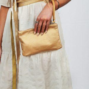 SS21 Ruffle dress w Gold Bag & Belt