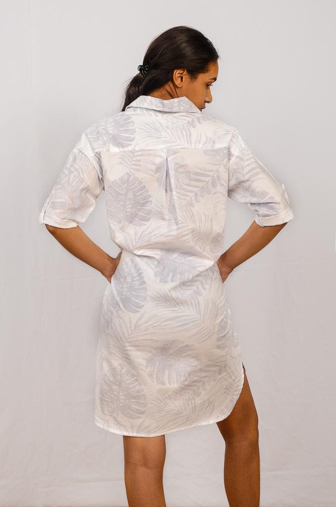 SS21 Shirtdress White & Grey Delicious back