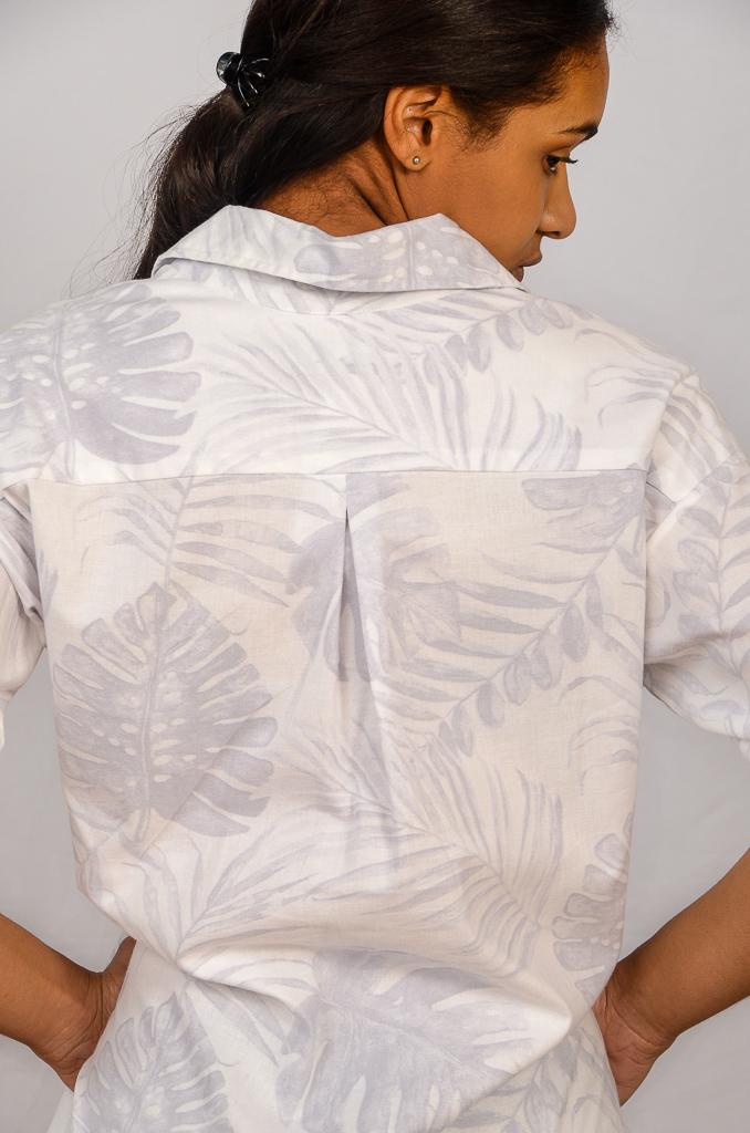 SS21 Shirtdress White & Grey fabric close up