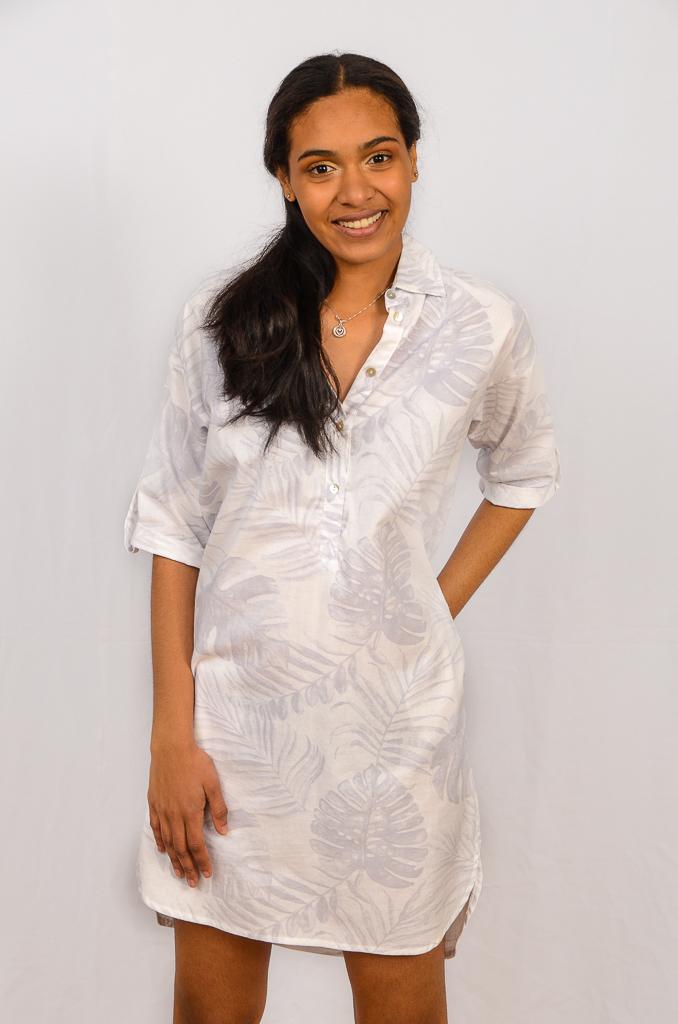 SS21 Shirtdress White & Grey front