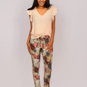 SS21 Slimpant Khaki Leaf & V frill Top full