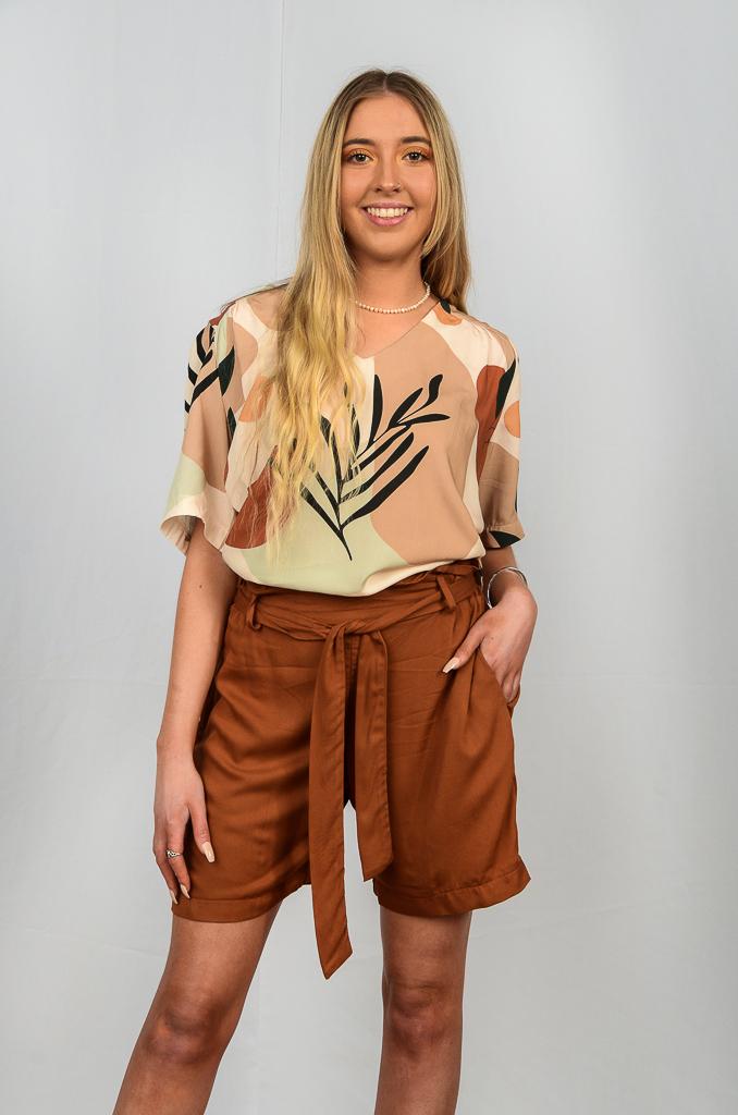 SS21 Tan Paperbag Shorts & V Neck Tan retro blouse