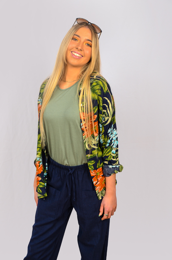 SS21 Tropical Shirt, Sage T & Navy pocket pants