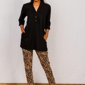 SS21 Tunic Black & Leopard Slimpant Full – to crop