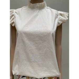 Frill Neck White & Yellow Spot cotton