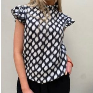 Frill Neck Blouse  Black & White Dalmatian print